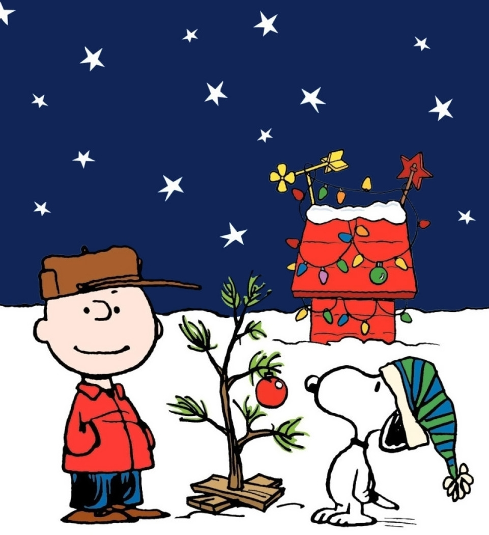 Charlie Brown and Snoopy looking at the small Charlie Brown Christmas Tree.