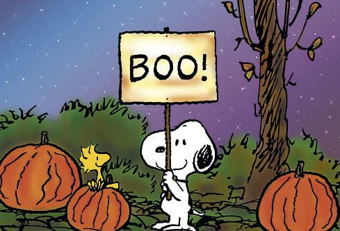 Snoopy with a Boo! sign.